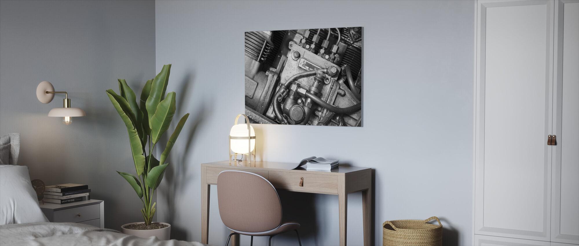 Car Engine - Monochrome - Canvas print - Office