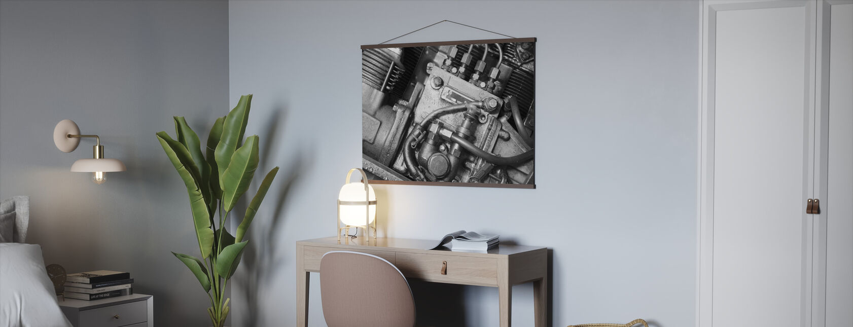Car Engine - Monochrome - Poster - Office