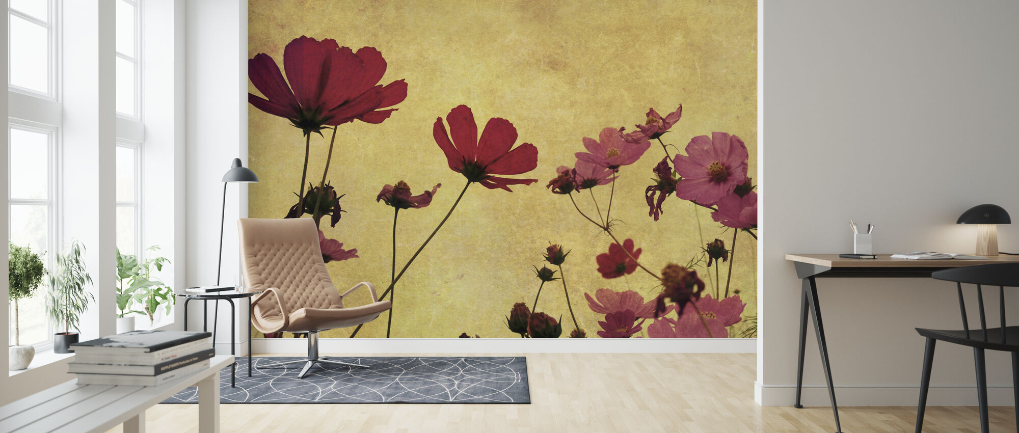 Old Fashioned Flower - Wallpaper - Living Room