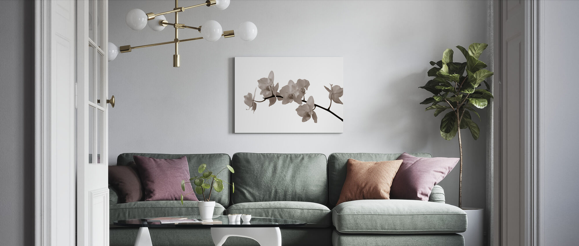 White Orchid Stem Sepia - Canvas print - Living Room