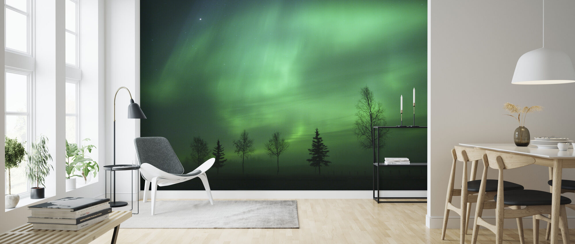 Nordische Lichter - Tapete - Wohnzimmer
