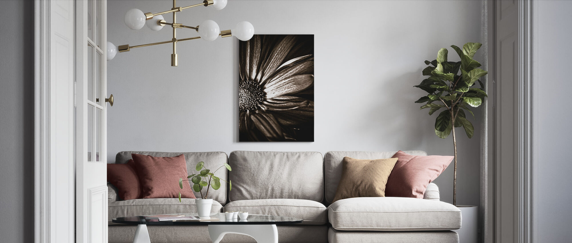 Dark Daisy - Sepia - Canvas print - Living Room