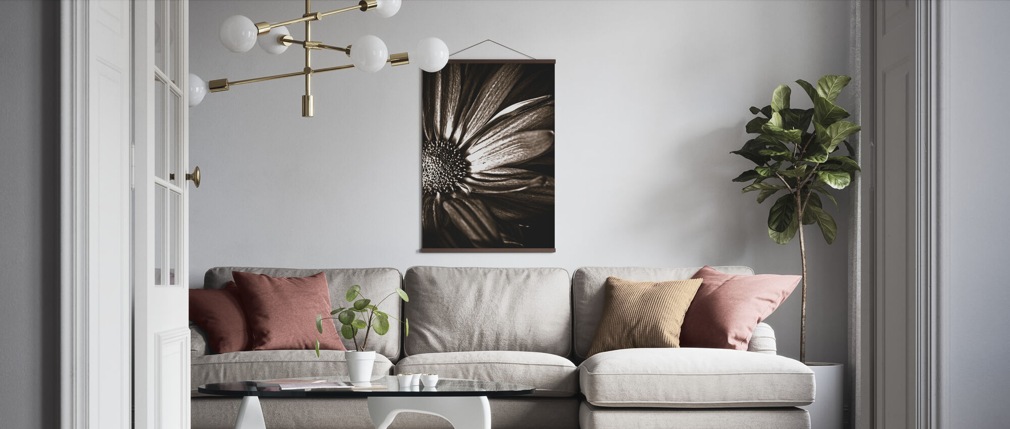 Dark Daisy - Sepia - Poster - Living Room