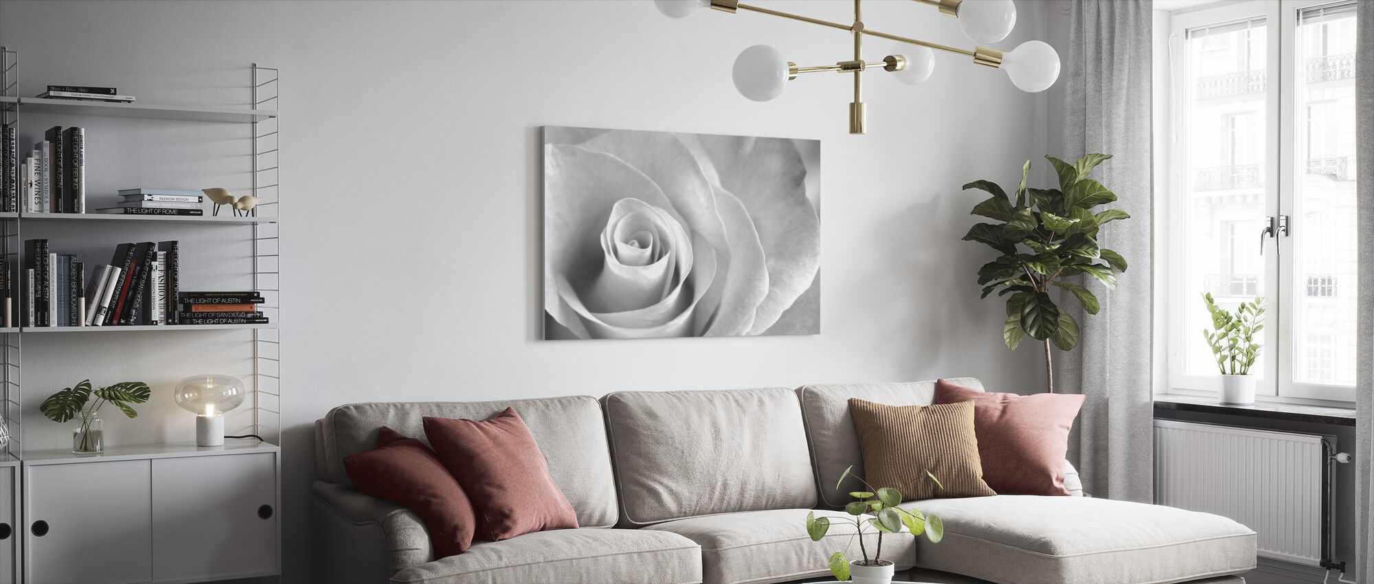 Soft Rose - b/w - Canvas print - Living Room