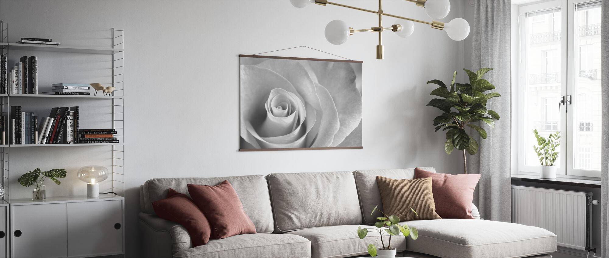 Soft Rose - b/w - Poster - Living Room
