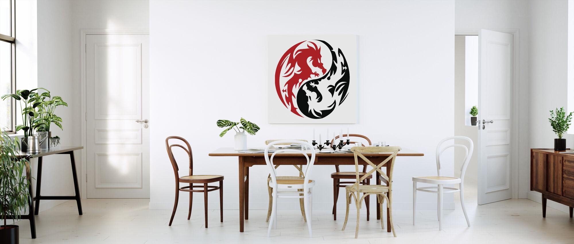 Circle Dragons - Red - Canvas print - Kitchen