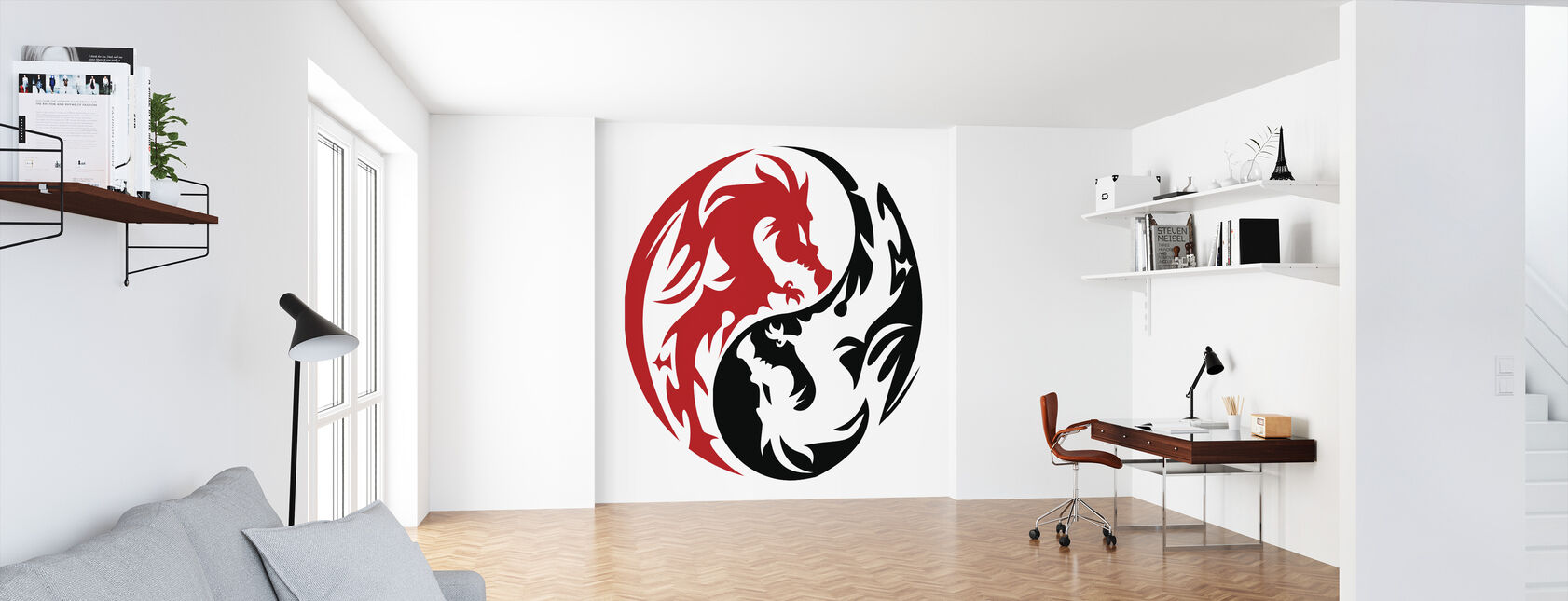 Circle Dragons - Red - Wallpaper - Office