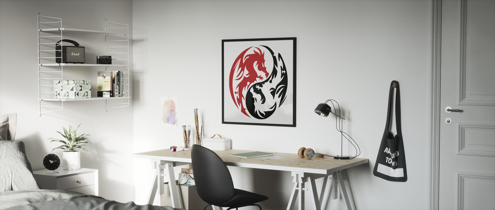 Circle Dragons - Red - Framed print - Kids Room