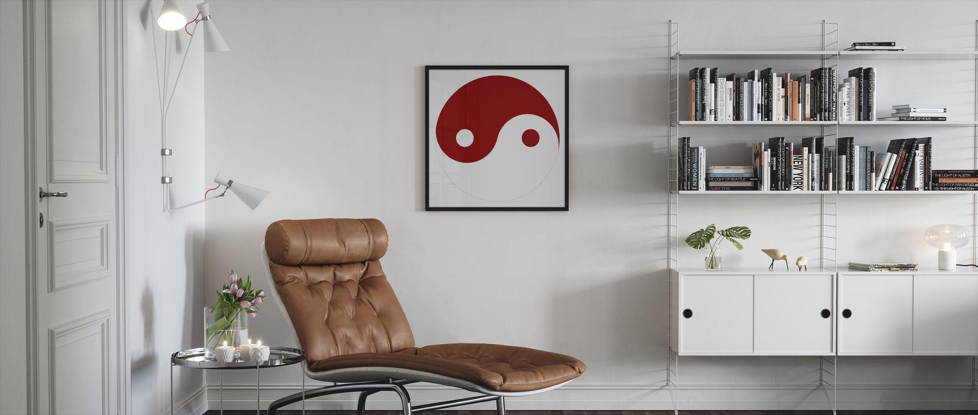Yin-Yang - Red - Framed print - Living Room