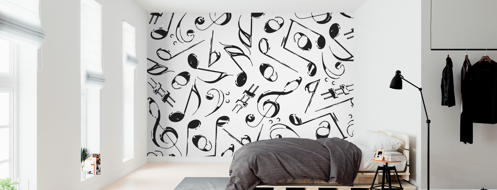 Grunge Musical Notes - Wallpaper - Bedroom