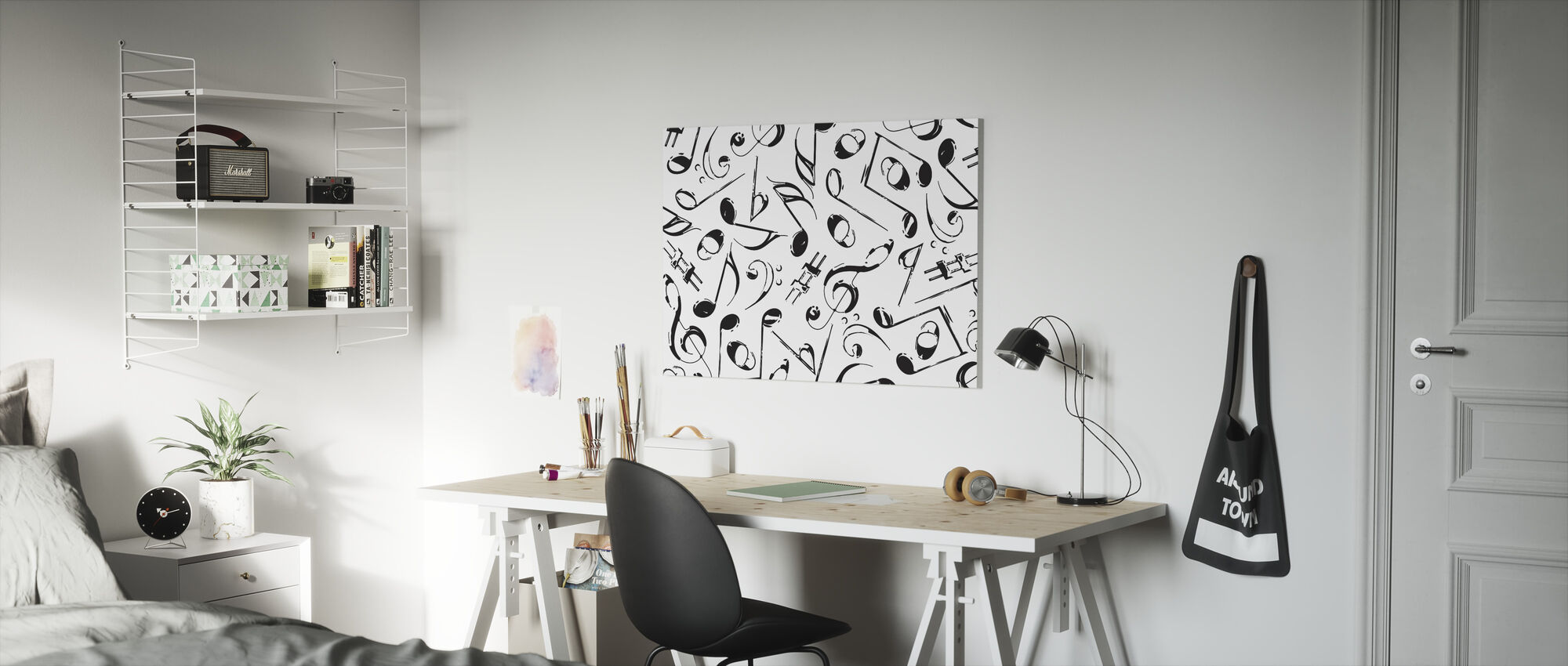 Grunge Musical Notes - Canvas print - Kids Room