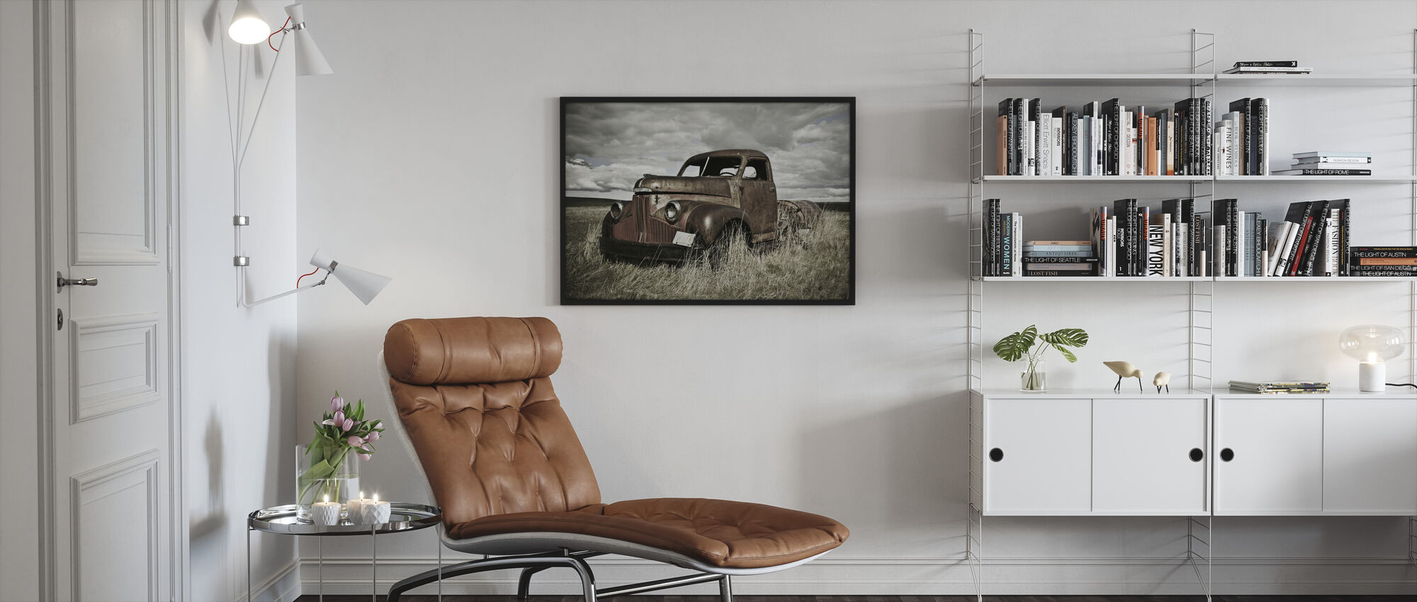 Old Truck Out in the Field - Framed print - Living Room