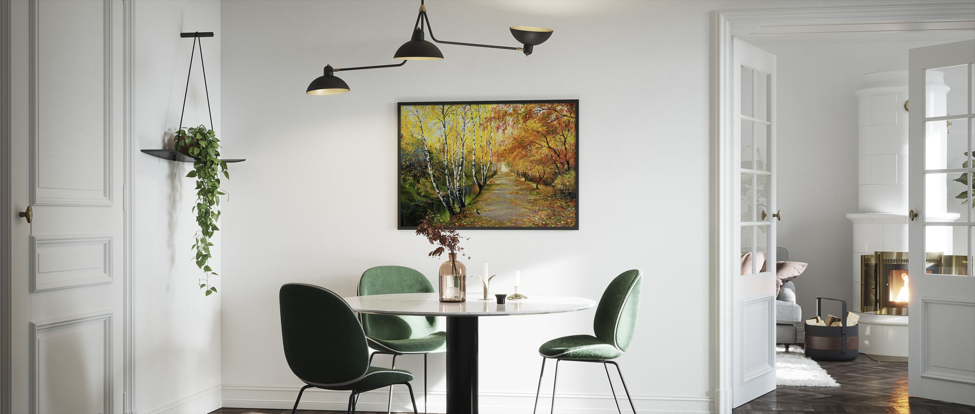 Autumn Road Along the Channel - Framed print - Kitchen