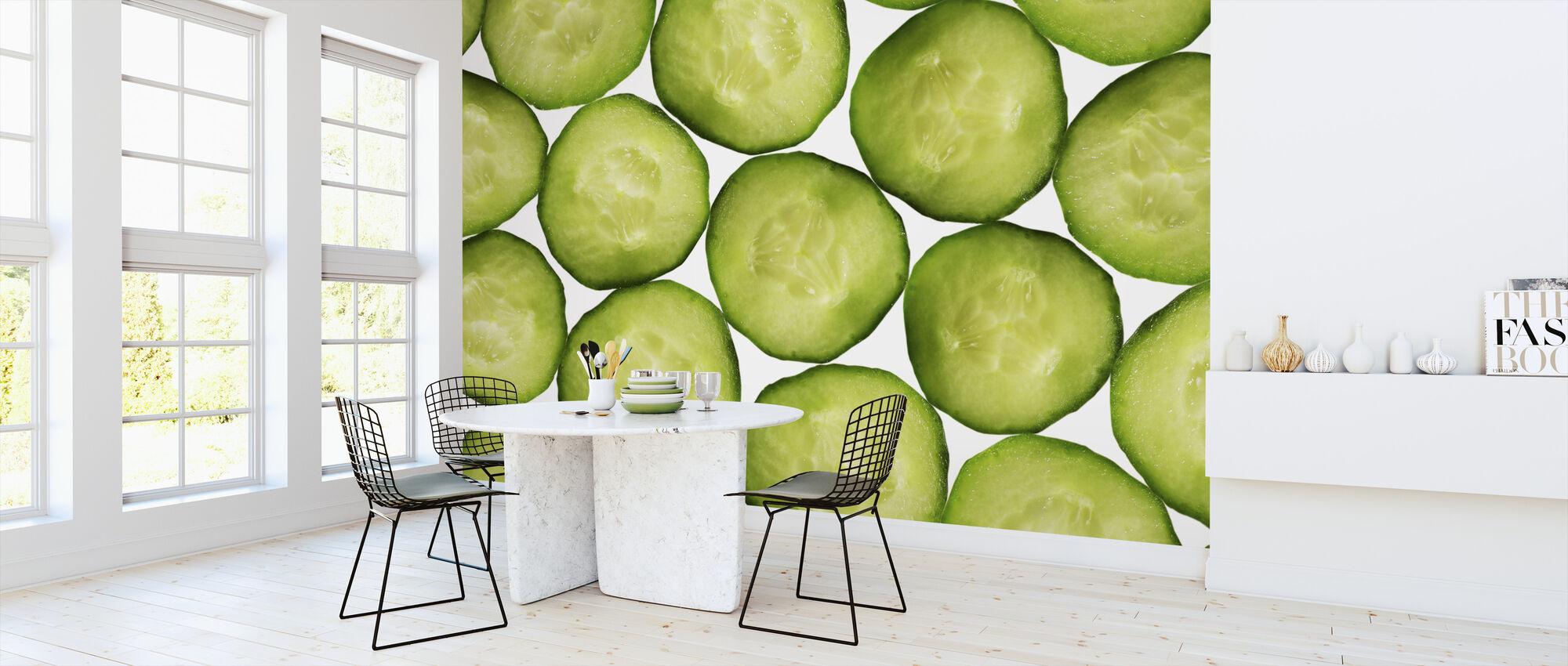 Plakjes komkommer - Behang - Keuken
