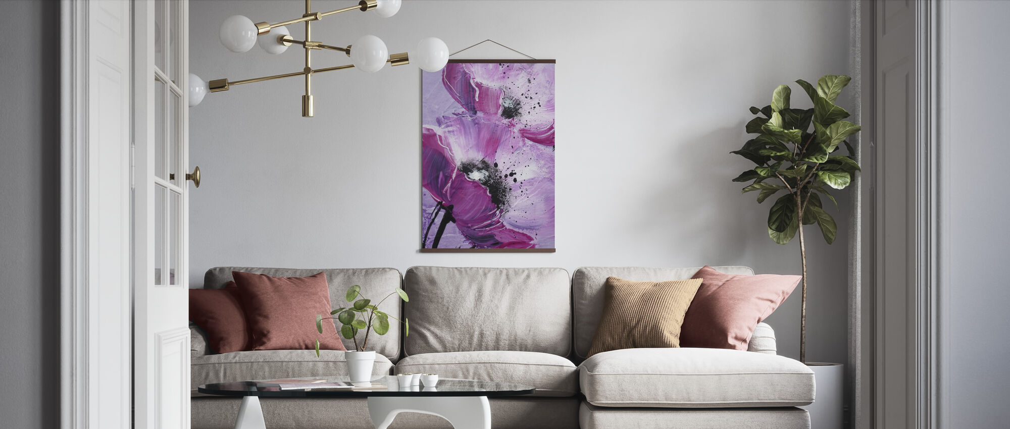Violet Poppy Harmony - Poster - Living Room