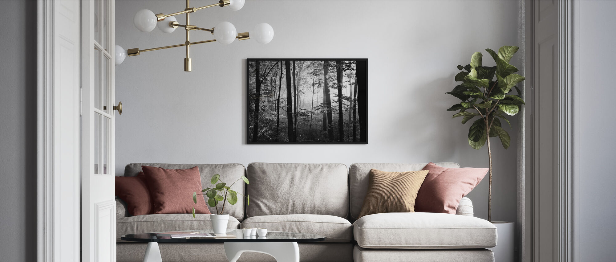 Early Morning - b/w - Framed print - Living Room