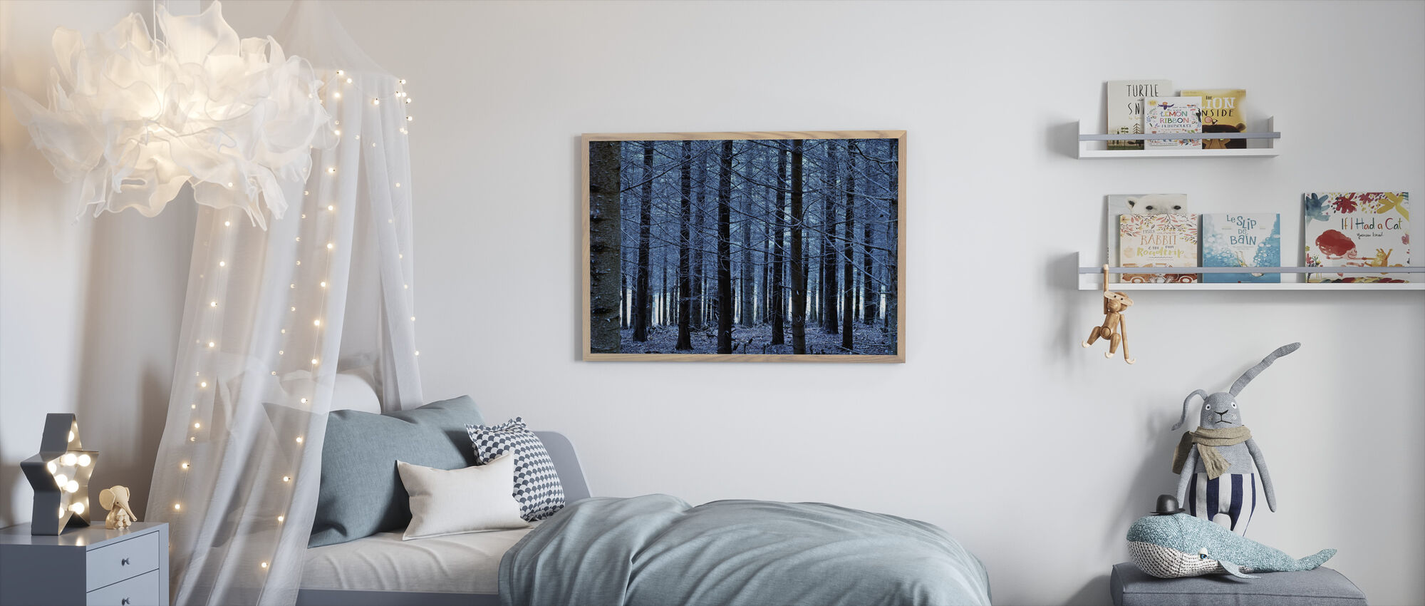 Siniset puut - Kehystetty kuva - Lastenhuone