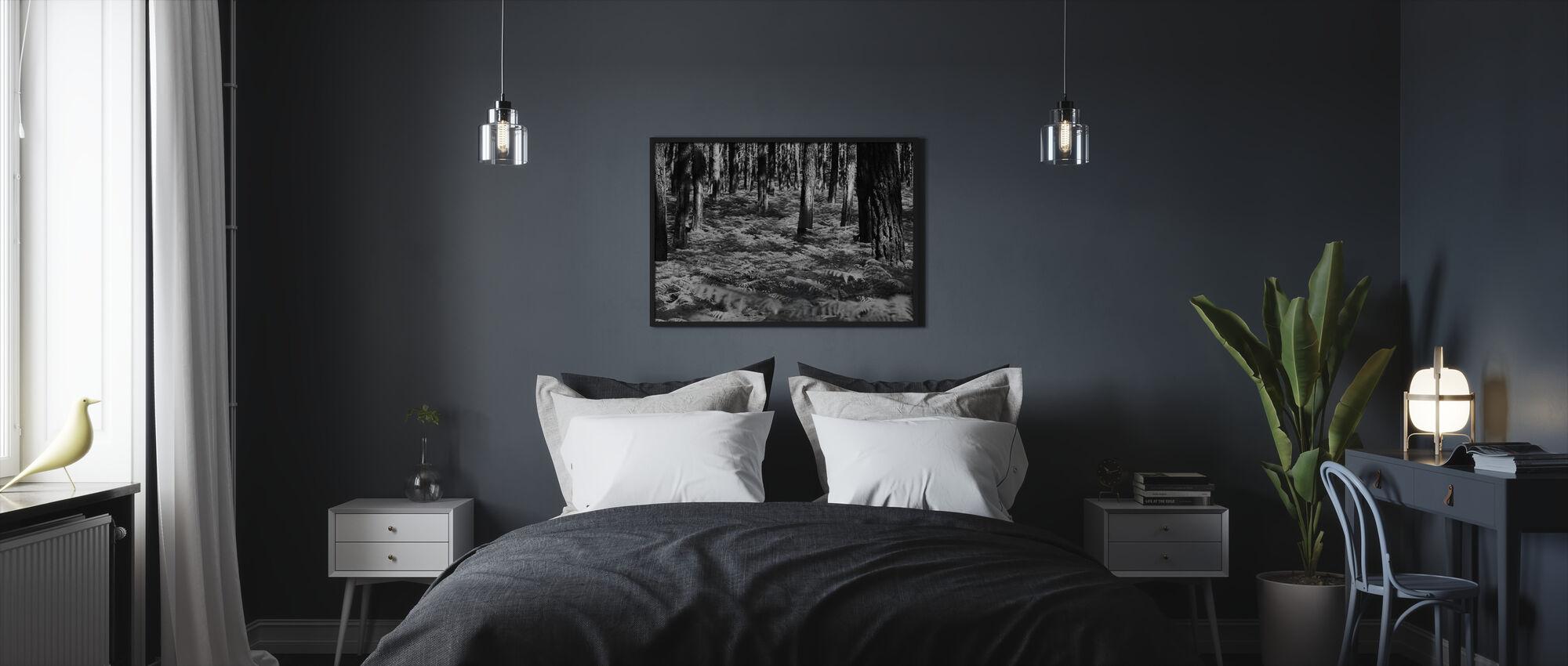 Vihreä harmonia - b/w - Kehystetty kuva - Makuuhuone