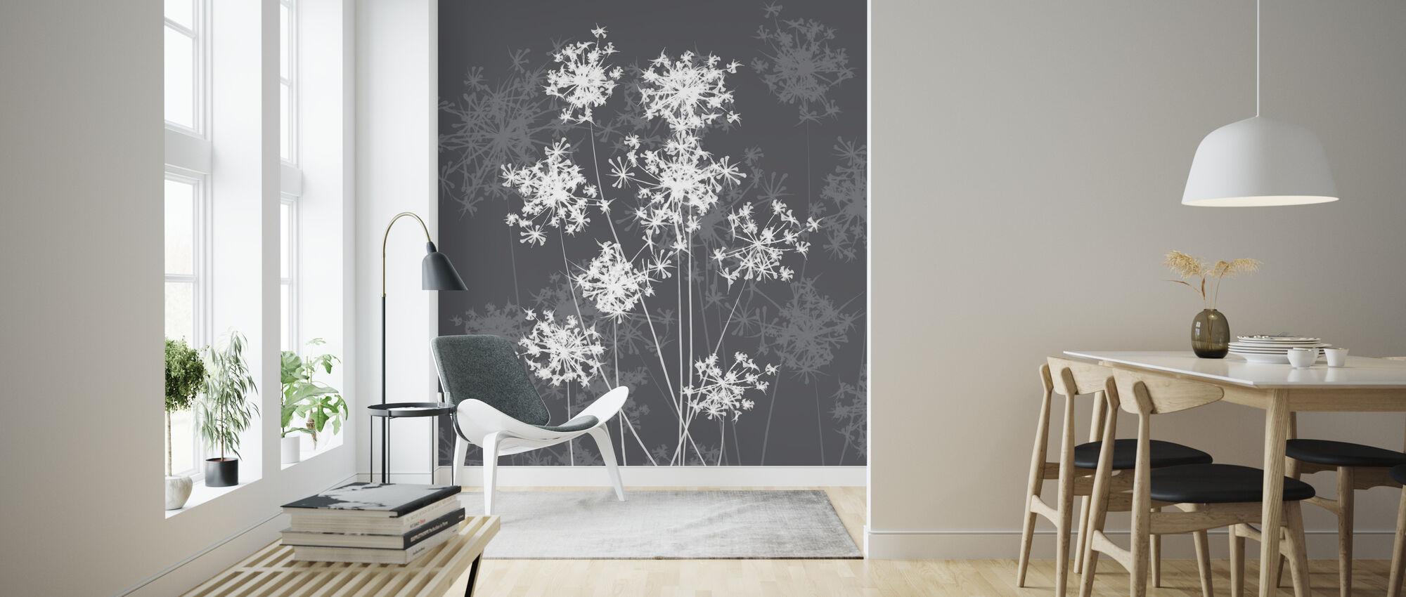 Dandelions - Grey - Wallpaper - Living Room