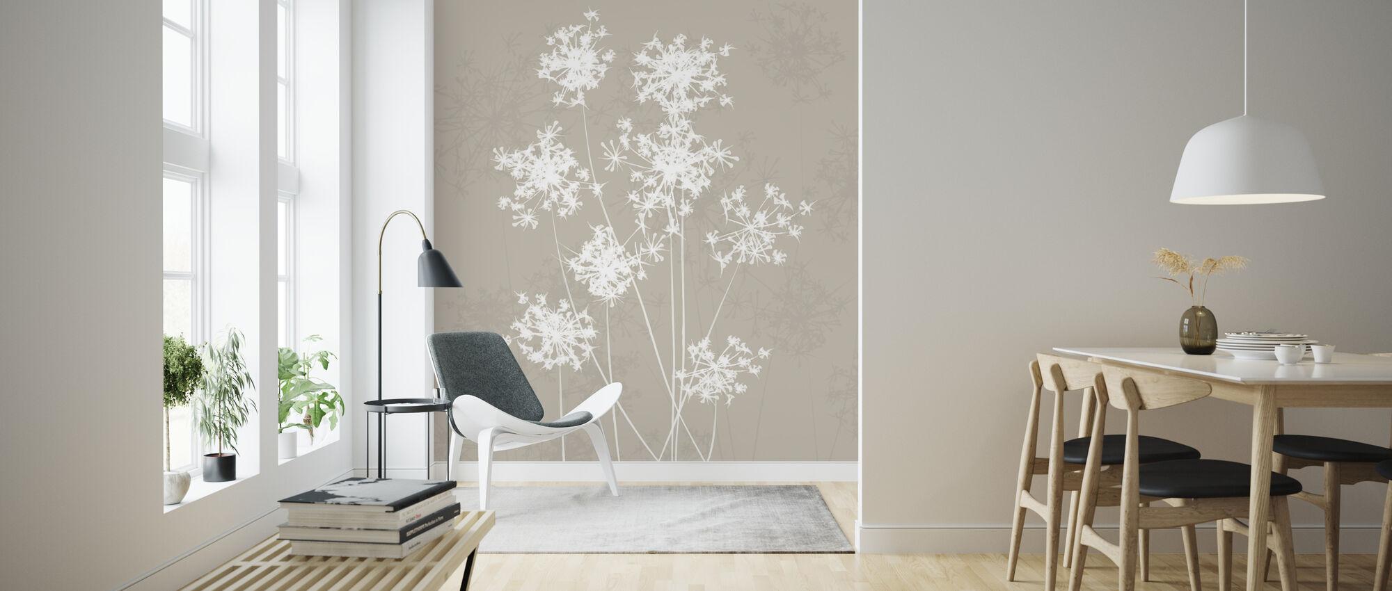 Dandelions - Beige - Wallpaper - Living Room
