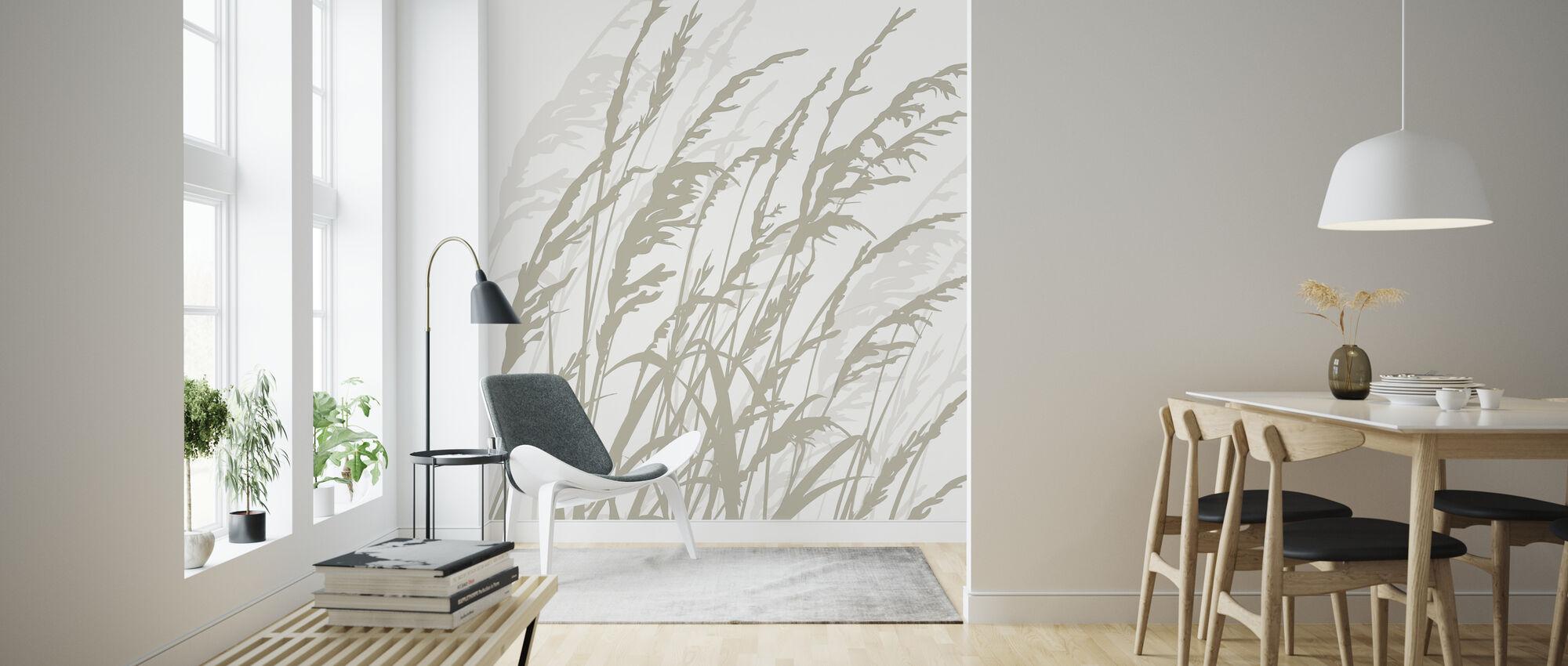 Græs - Hvid - Tapet - Stue