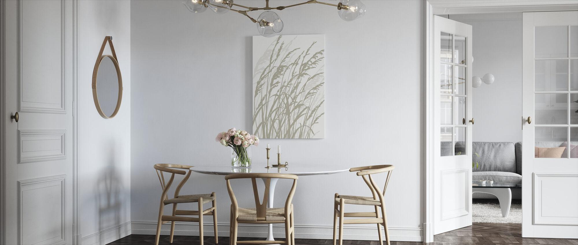 Græs - Hvid - Billede på lærred - Køkken