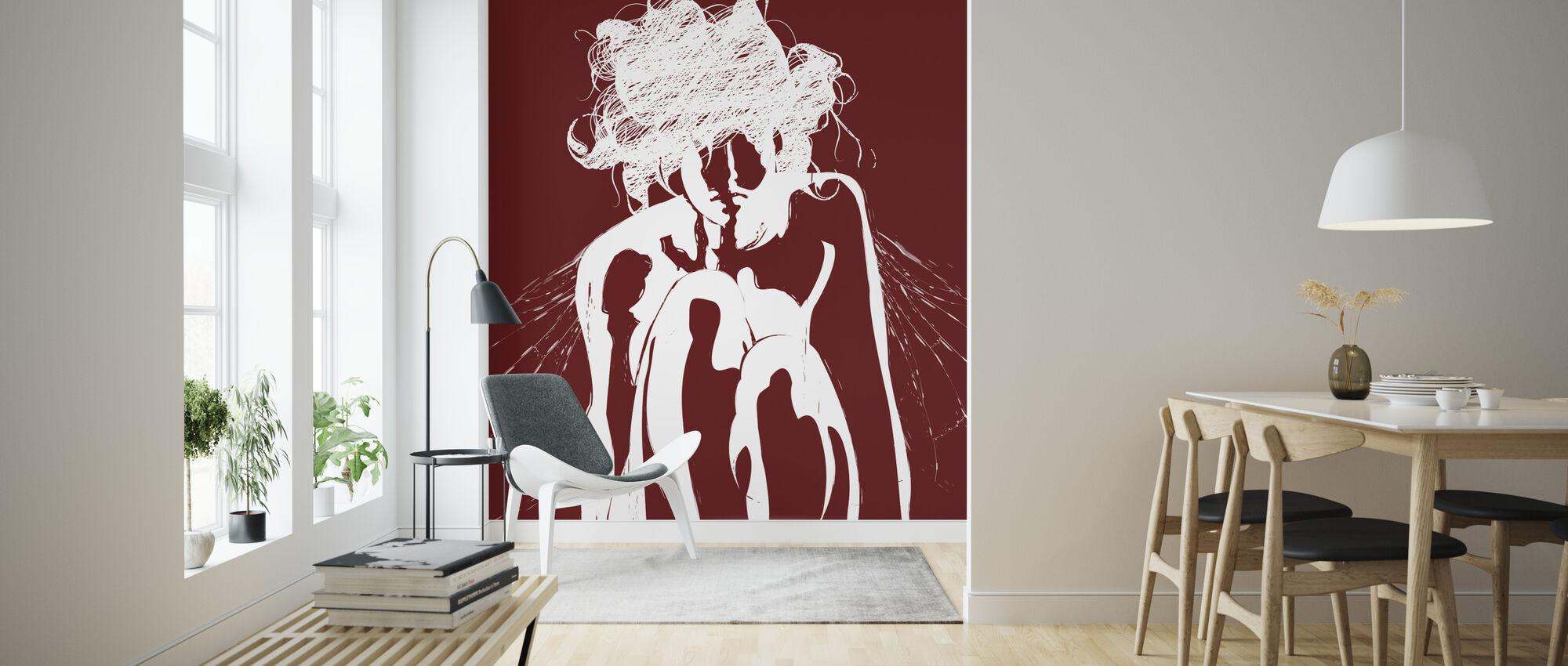 Tinker - Red - Wallpaper - Living Room