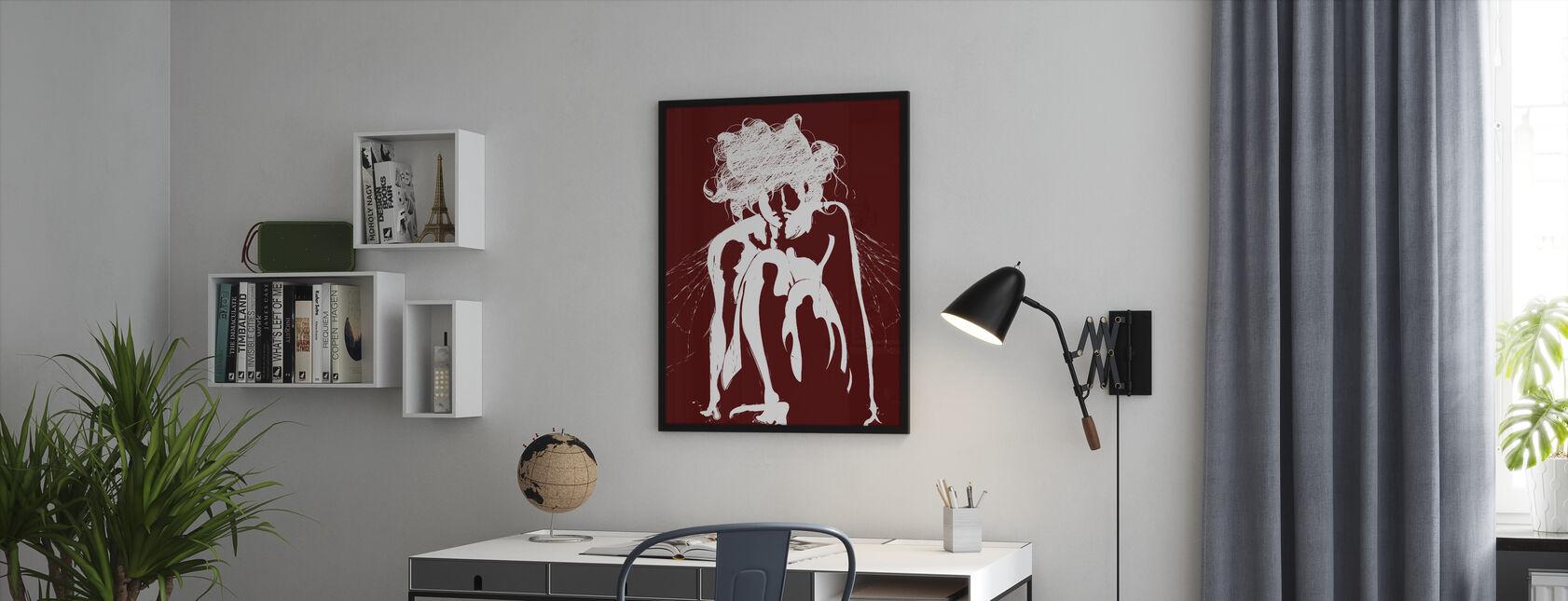 Tinker - Red - Framed print - Office