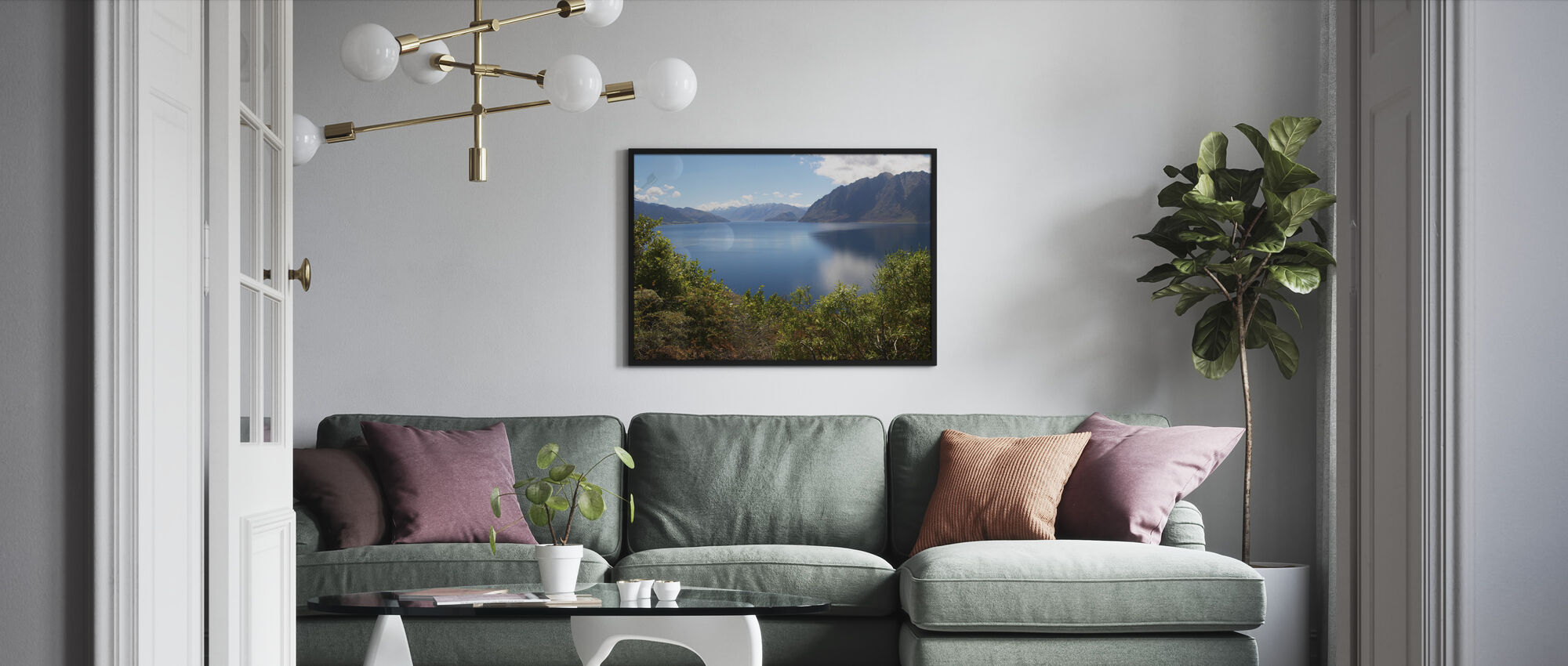 Nz Lake - Framed print - Living Room