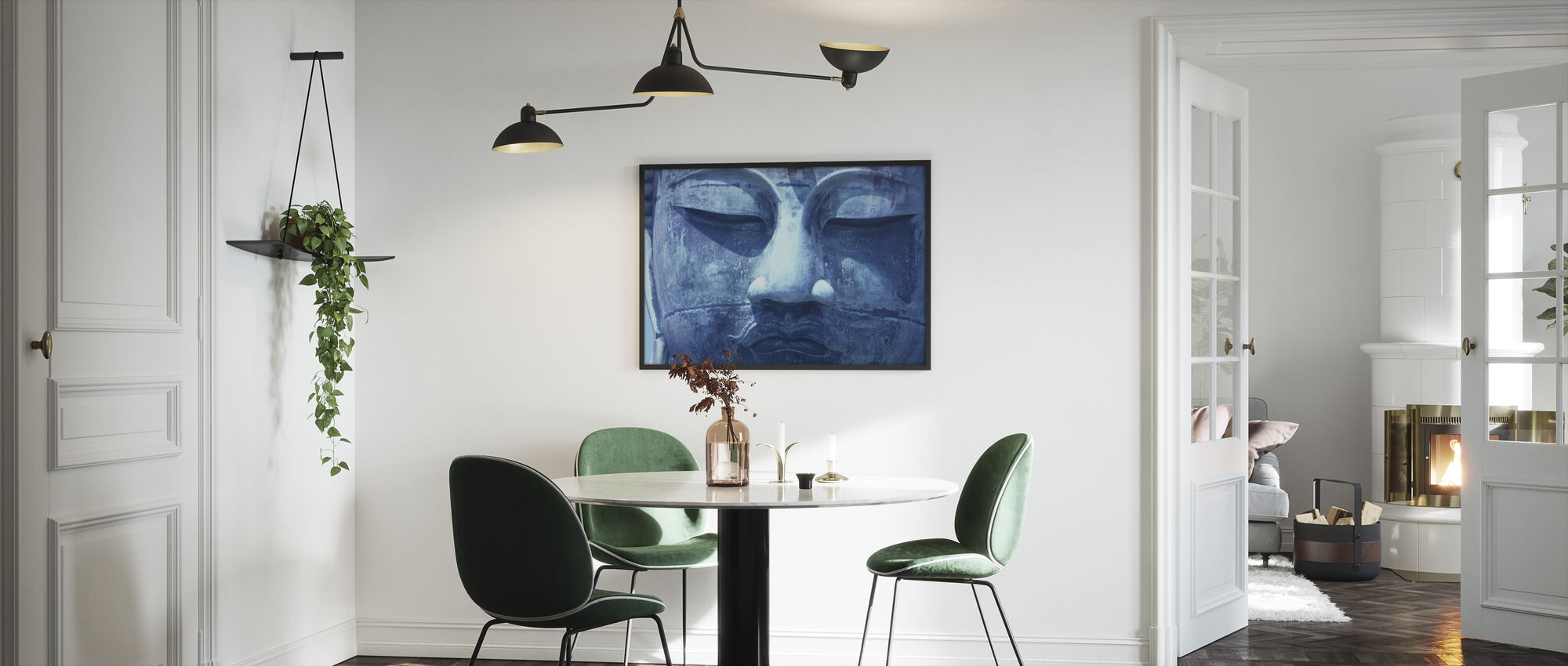 Blauwe Boeddha - Ingelijste print - Keuken