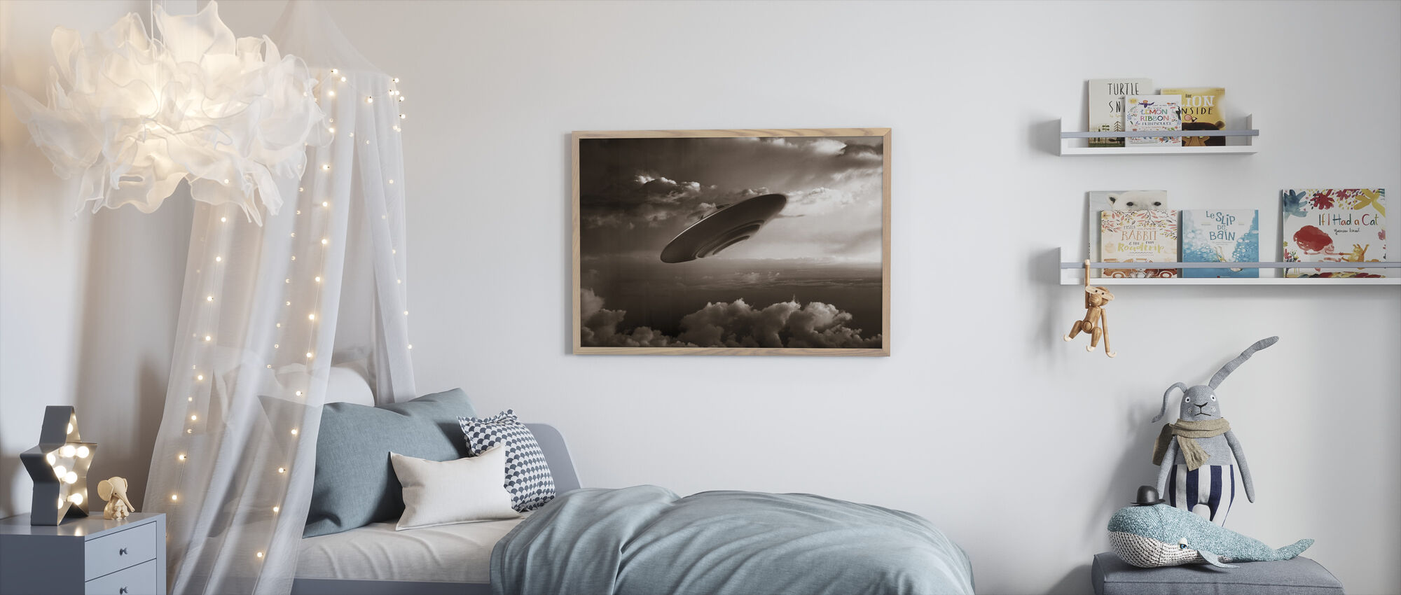 Ufo - Sepia - Framed print - Kids Room
