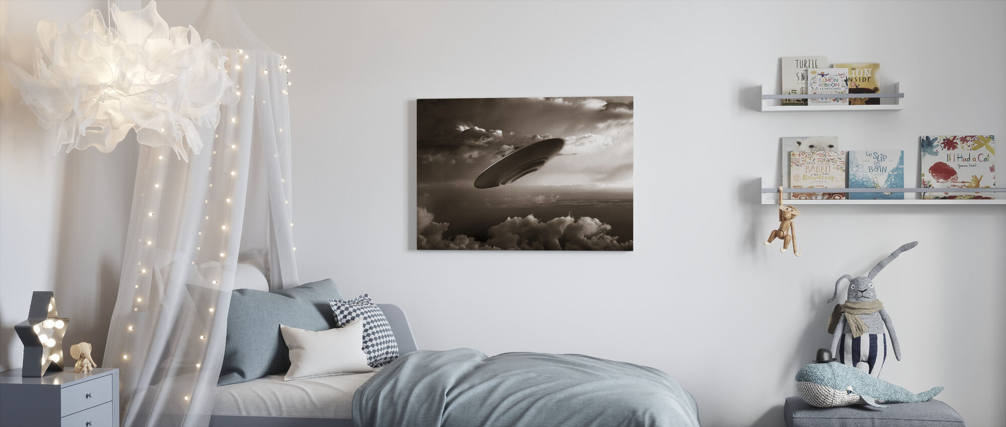 Ufo - Sepia - Canvas print - Kids Room