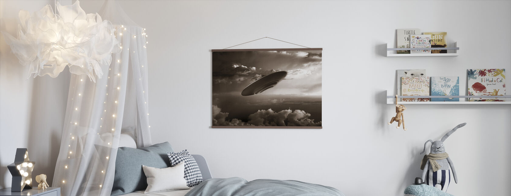 Ufo - Sepia - Poster - Kids Room