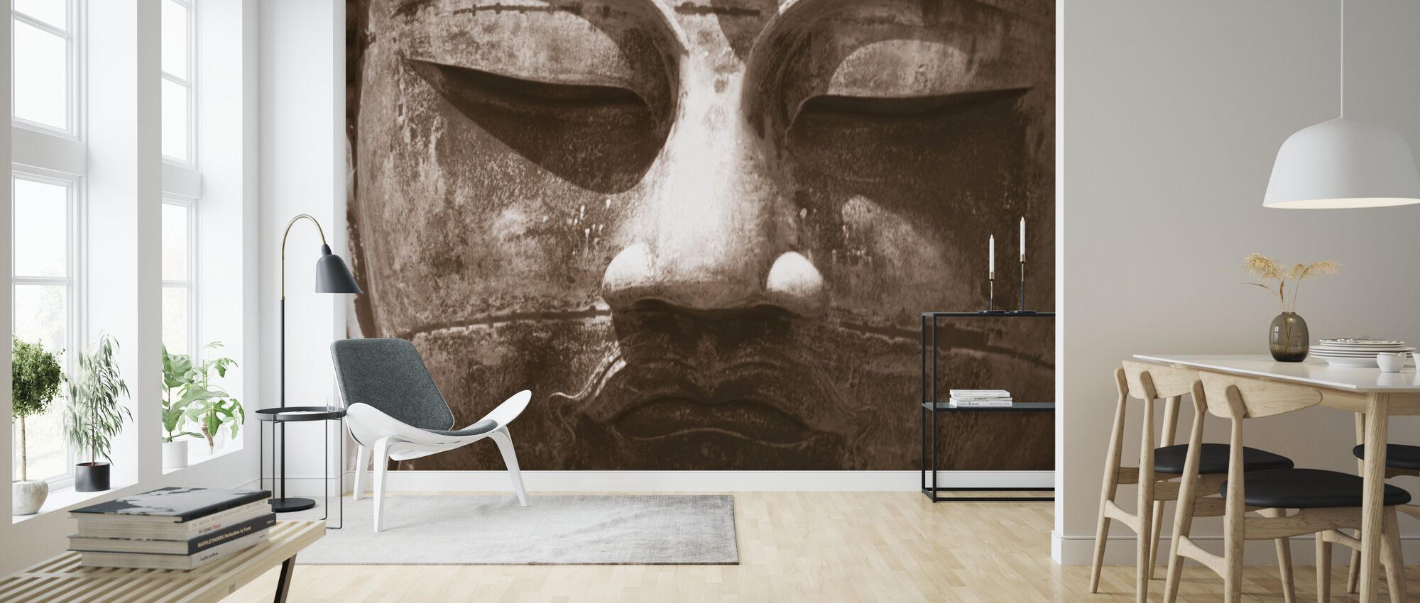 Blue Buddha - Sepia - Wallpaper - Living Room