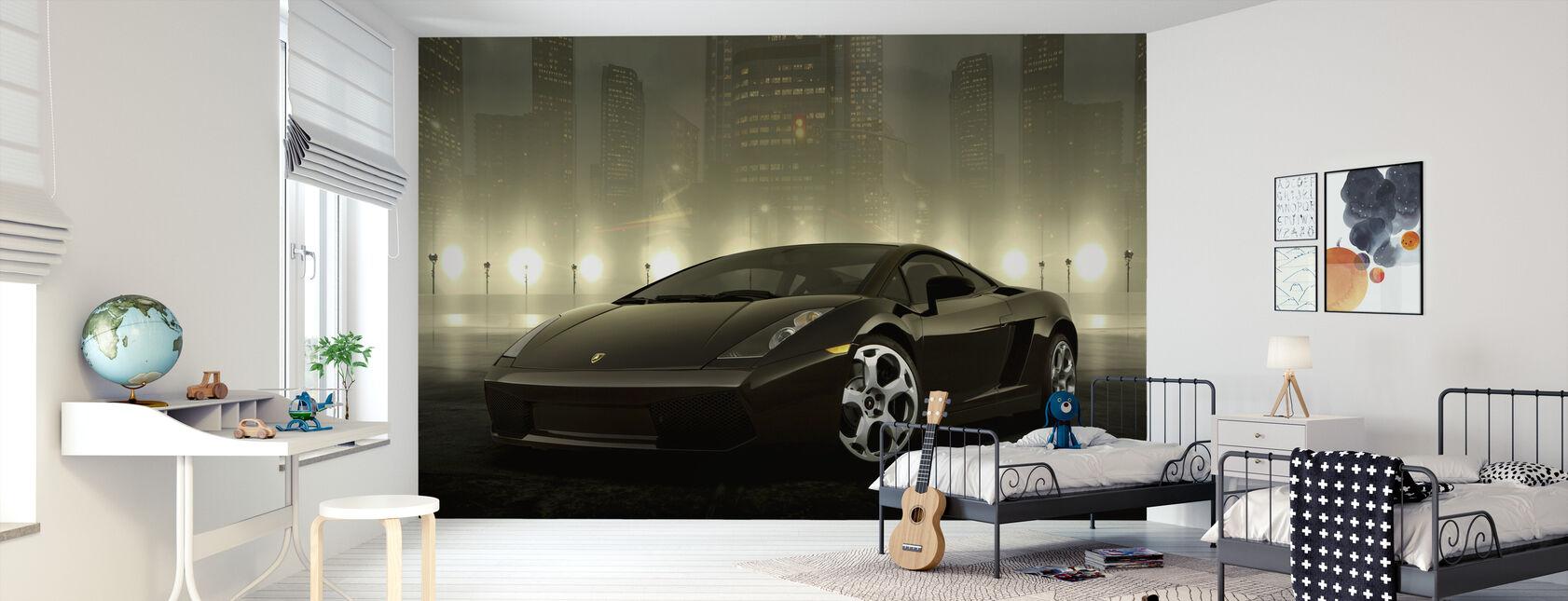 Mørk Lamborghini - Tapet - Børneværelse