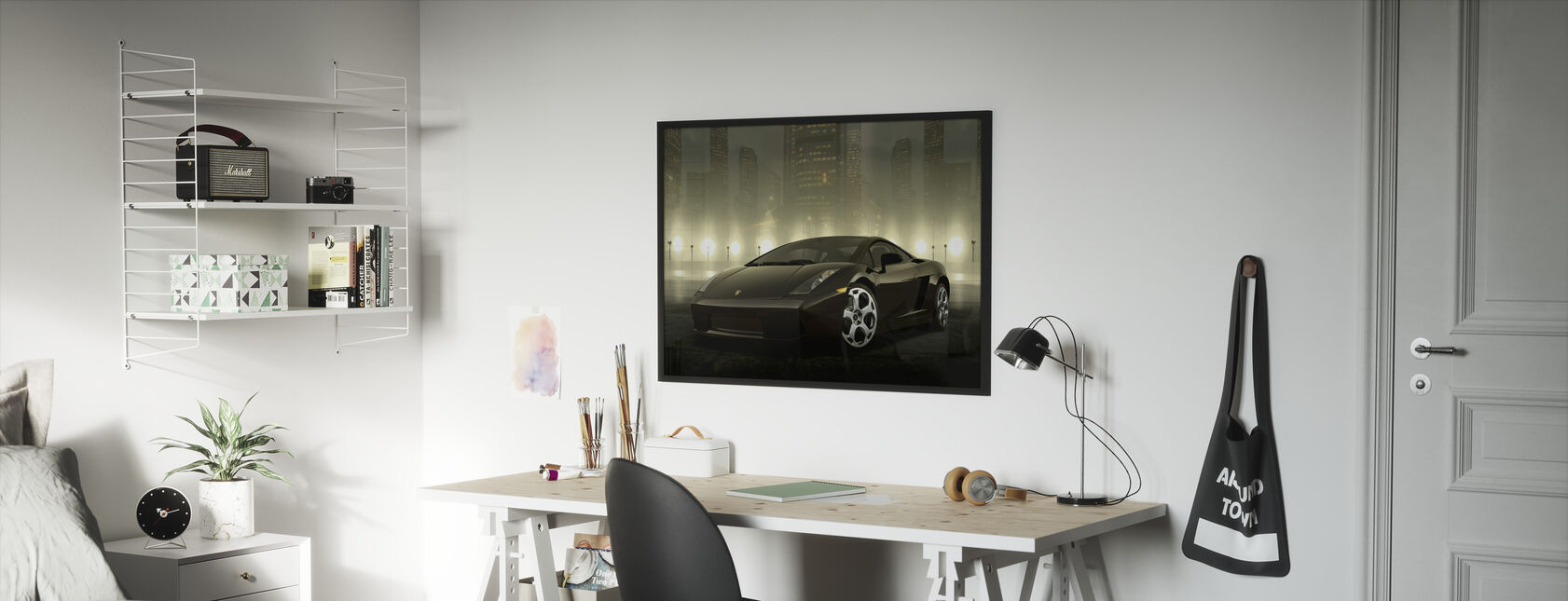 Tumma Lamborghini - Kehystetty kuva - Lastenhuone