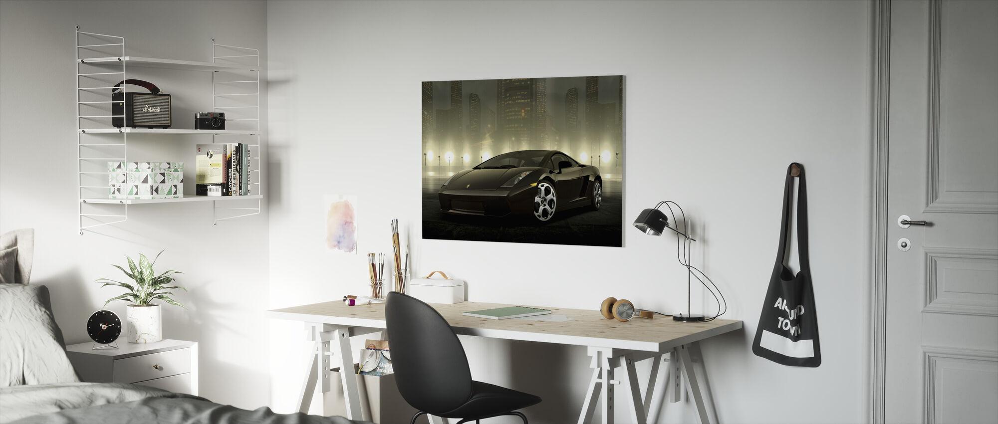 Mörk Lamborghini - Canvastavla - Barnrum