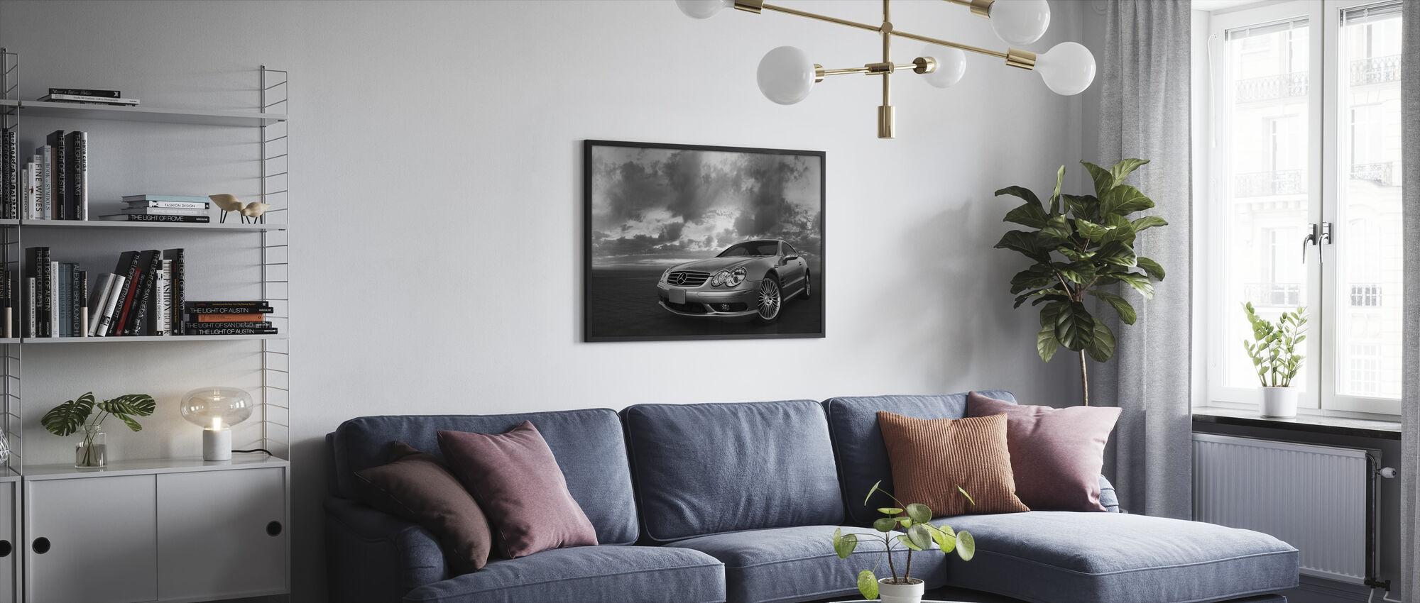 Mercedes-Benz SL55 - b/w - Framed print - Living Room