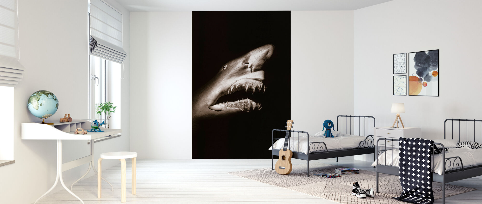 Shark - Sepia - Wallpaper - Kids Room