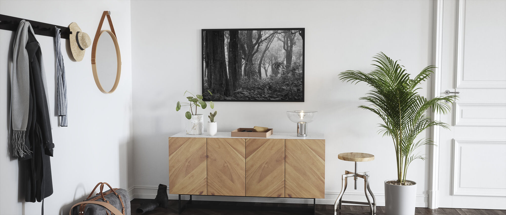 Trooppinen metsä - b/w - Kehystetty kuva - Aula