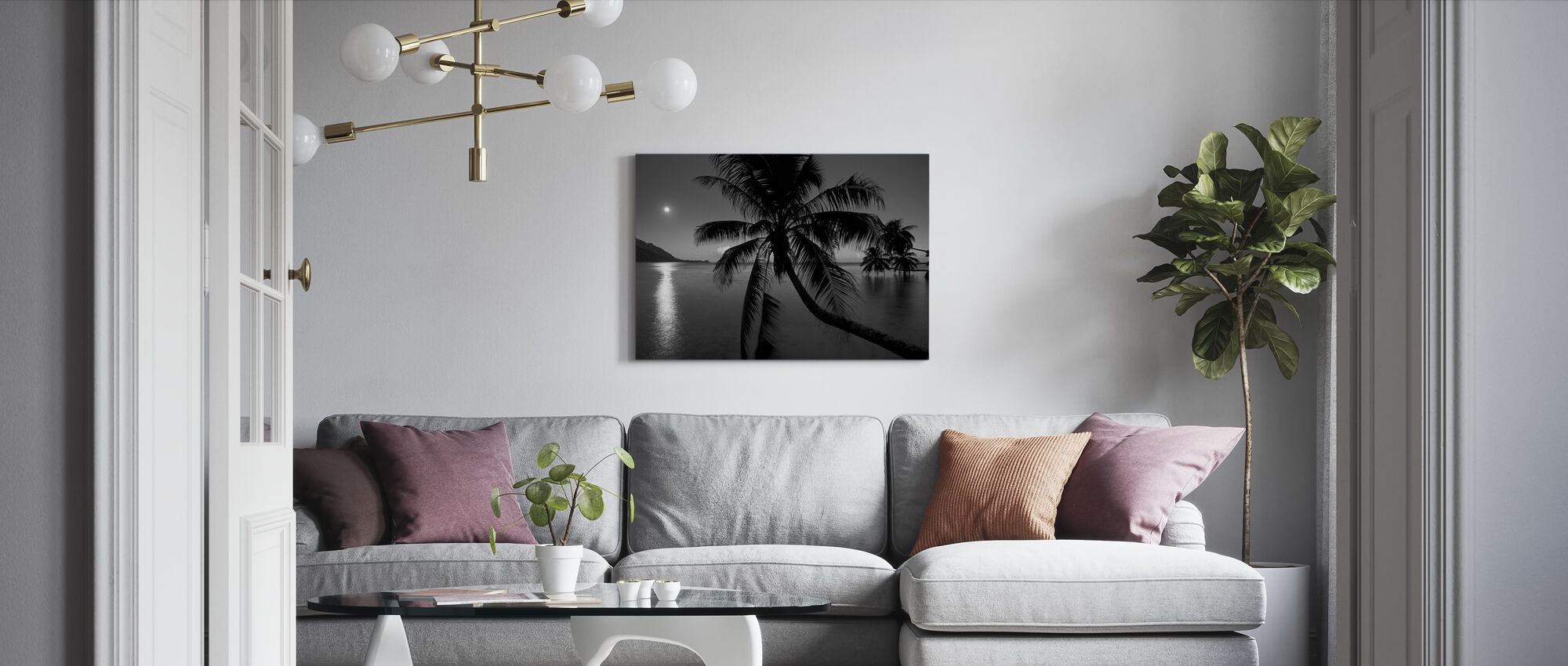 Dream Island - b/w - Canvas print - Living Room