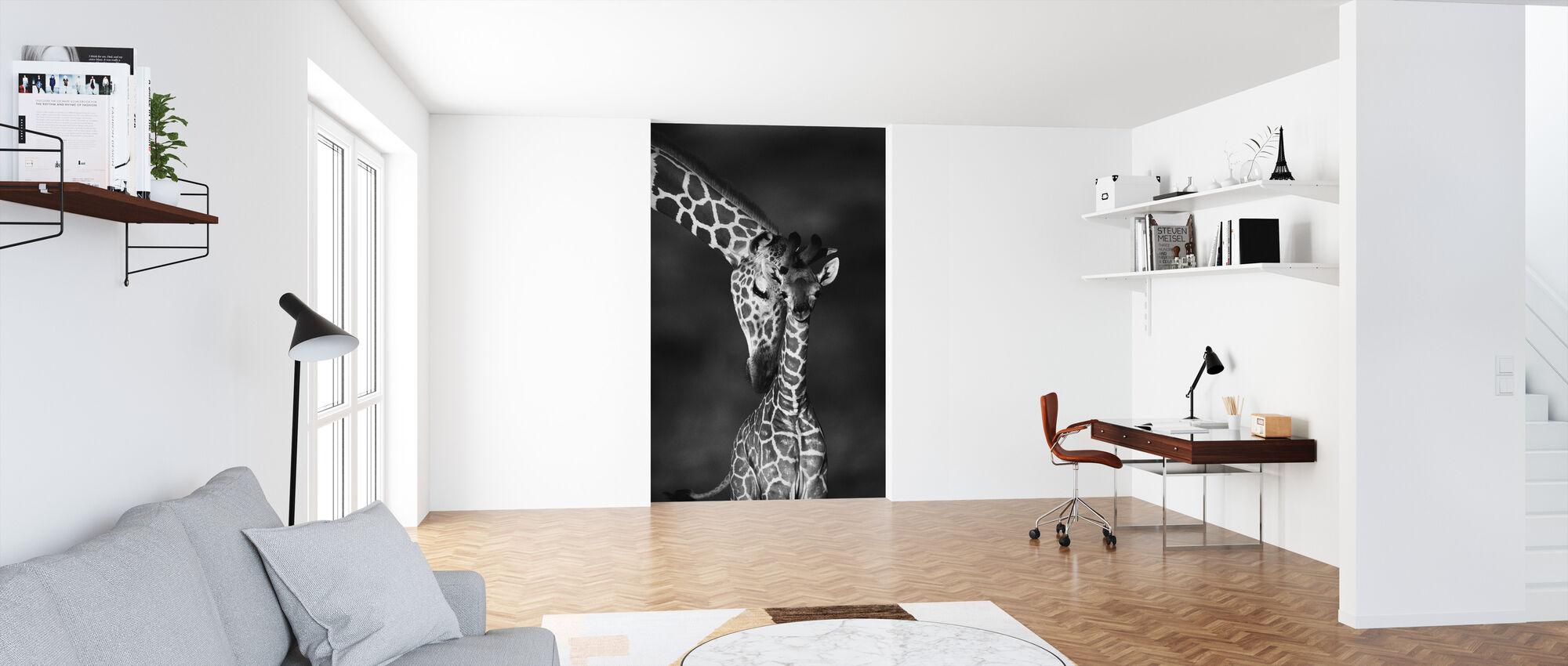 Giraffen - z/w - Behang - Kantoor