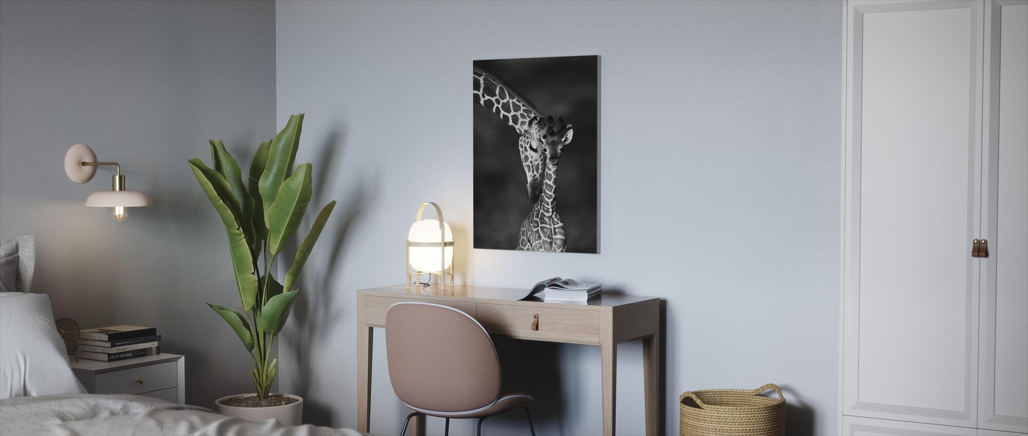 Giraffes - b/w - Canvas print - Office