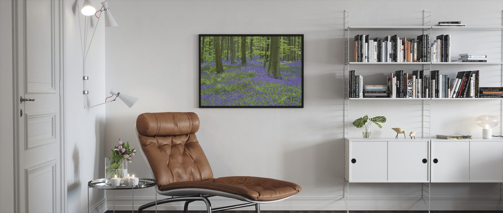 Bluebells Wallpaper - Framed print - Living Room