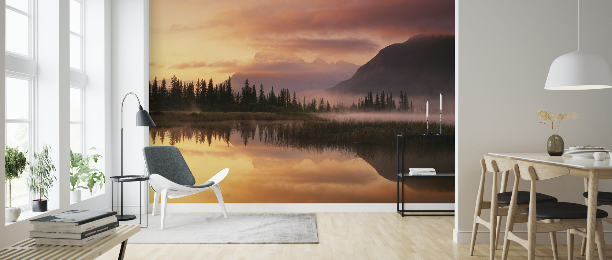 Orange Reflection - Wallpaper - Living Room