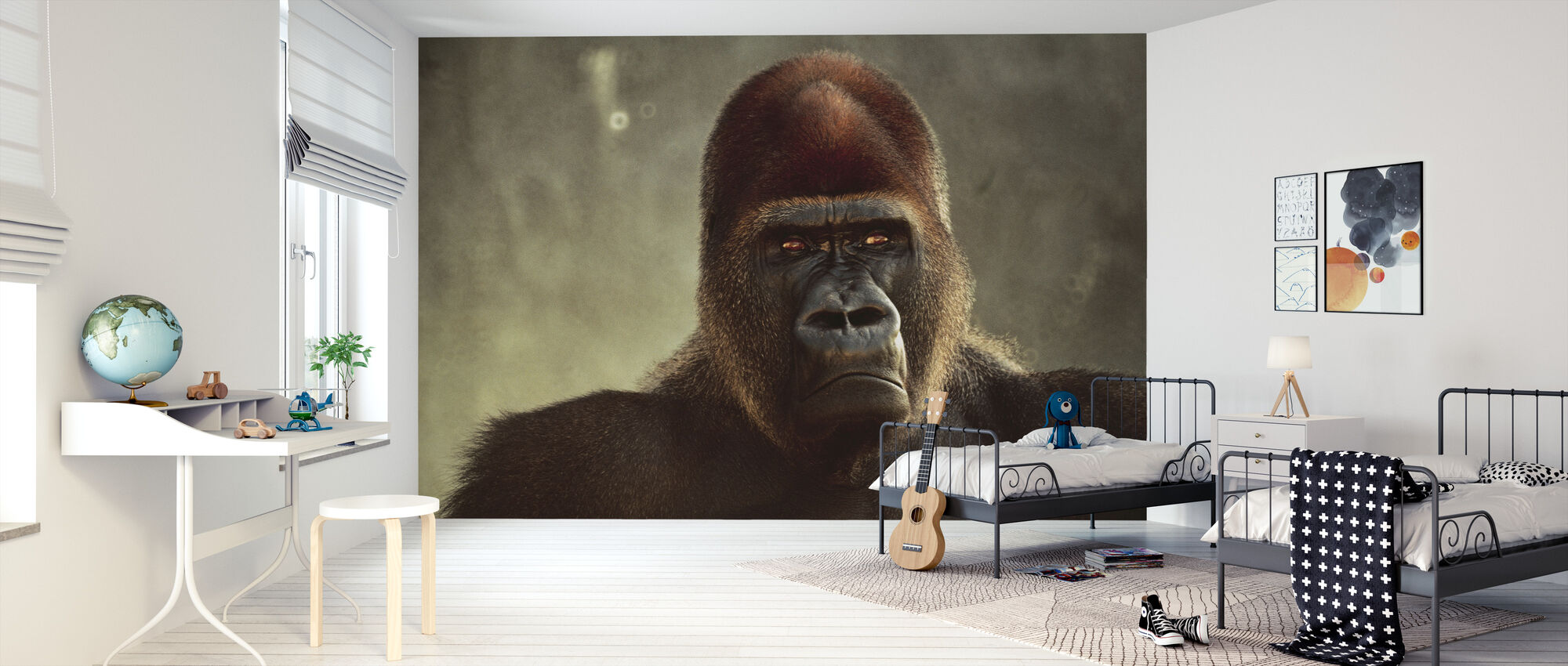 Machtige Gorilla - Behang - Kinderkamer
