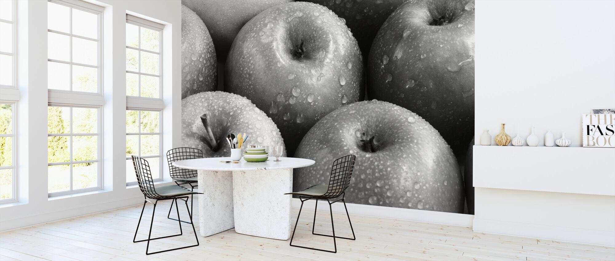 Appels - z/w - Behang - Keuken