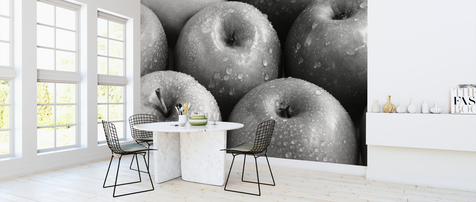 Apples - b/w - Wallpaper - Kitchen
