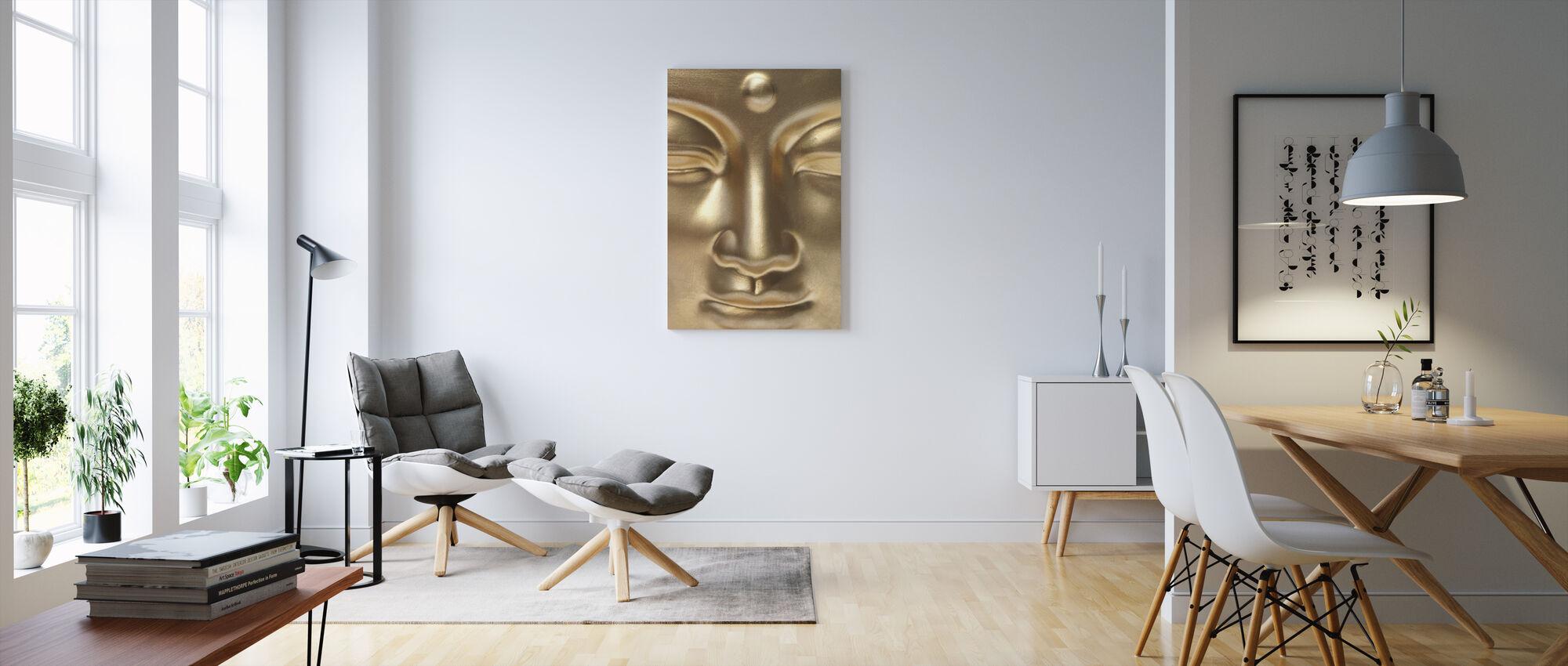 Golden Buddha Close Up - Canvas print - Living Room
