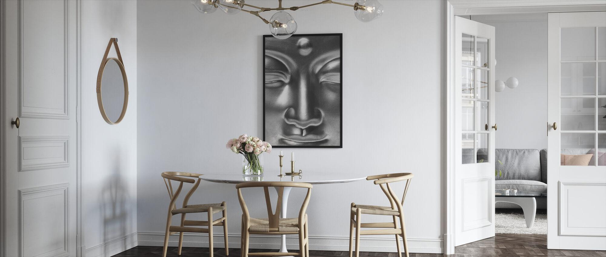 Gouden Boeddha Close Up - z/w - Ingelijste print - Keuken